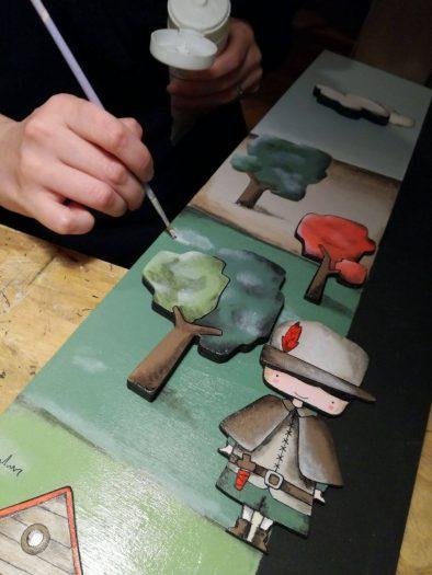 Realizzazione illustrazioni su metro a tema Cappuccetto Rosso