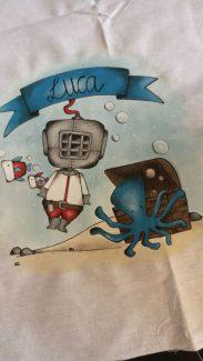Illustrazione su tessuto per Luca